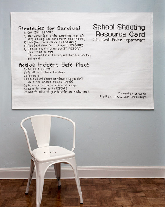 "Active Shooter Directions #1 (chair for scale): cotton; 42""H X 60""W; 2011; Photo: Miles Mattison"