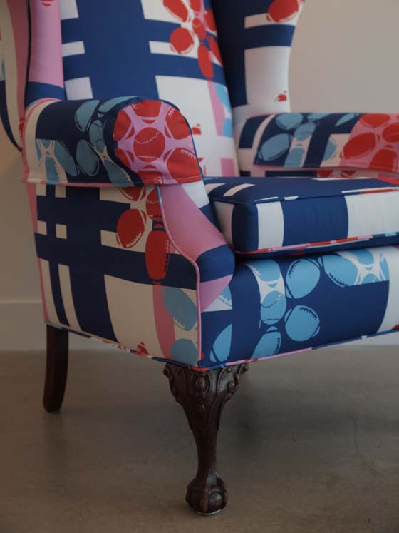 Armchair Quarterback (Detail) (Manmade Workshop Collaboration with Doug Brown): digitally-printed cotton, mixed media; 2011; Photo: Kiny McCarrick