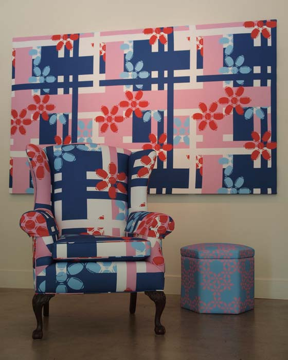 Armchair Quarterback (front), Ottoman and Sporty Flowers Panel (Manmade Workshop Collaboration with Doug Brown): digitally-printed cotton, mixed media; 2011; Photo: Kiny McCarrick