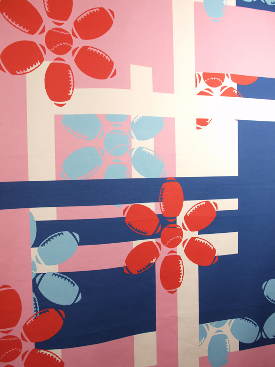 "Plaid Sporty Flowers Fabric (Detail): cotton, digital printing; variable height X 60""W; 2011; Photo: Kiny McCarrick"