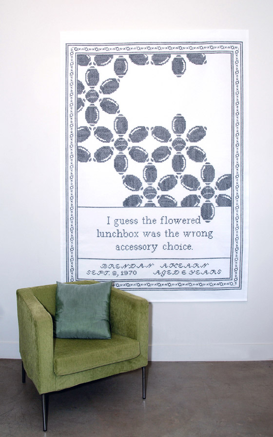 "Sampler #9 (chair for scale): cotton; 88""H X 60""W; 2011; Photo: Kiny McCarrick"