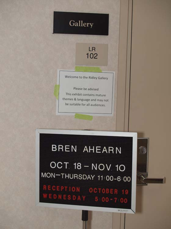Mature Audiences Advisory for Thread of Masculinity Exhibit at Sierra College, November 2011; Photo: Kiny McCarrick