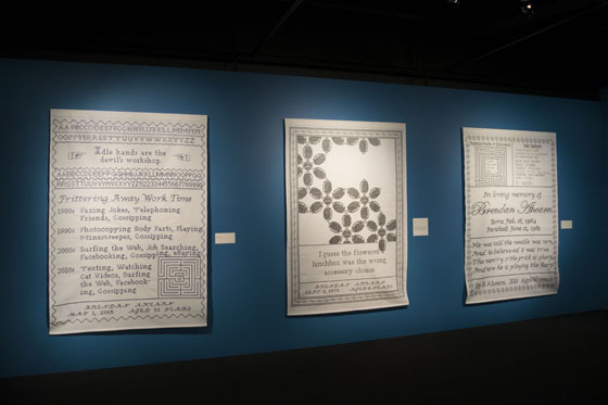 Samplers #17 (left), #9 (center) and #15 (right) in Strategies for Survival Exhibit, Bellevue Arts Museum, Bellevue, WA, USA, 2016-2017; Photo courtesy of Bellevue Arts Museum.