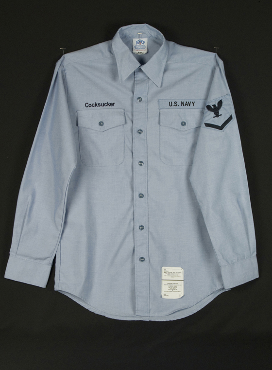"Navy Shirt #1: found object, cotton; 33""H X 24""W; 2007; Photo: Allison Tungseth"