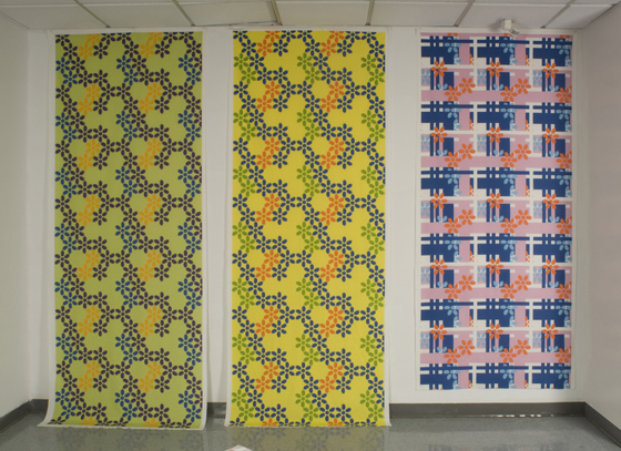 "Various Sporty Flowers Fabrics: cotton, digital printing; variable height X 42""W; 2009; Photo: Allison Tungseth"