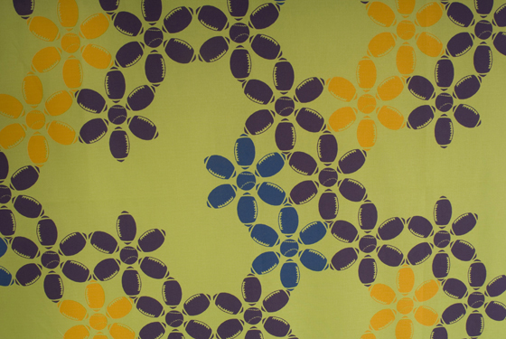 "Green Sporty Flowers Fabric: cotton, digital printing; variable height X 42""W; 2009; Photo: Allison Tungseth"