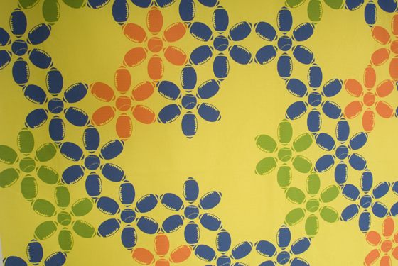 "Yellow Sporty Flowers Fabric: cotton, digital printing; variable height X 42""W; 2009; Photo: Allison Tungseth"